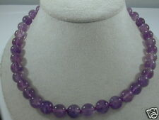 BRAND NEW AMETHYST BEAD NECKLACE w 14K WHITE GOLD CLASP