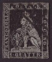 Toscana, 1 quattrino nero su azzurro del 1852 usato (cert. Terrachini)   -CO90