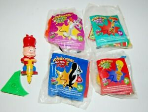 Complete Set of 5 Wendy's 2001 Looney Tunes Action Pens 2 Kids Meal Toys Sealed