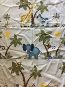 "Home Trends Fabric Kids Jungle Animals Print Shower Curtain 70""x 70"""