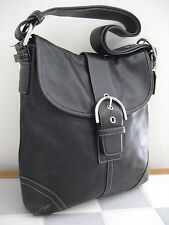 COACH 9481 Soho Black Leather Buckle Flap Convertible Crossbody Shoulder Bag