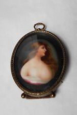 19TH C. SEMI-EROTIC miniature  PORTRAIT young woman on PORCELAIN-ORIGINAL FRAME.