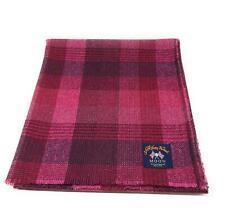 Pure Wool Tweed Blanket/Bedspread/Throw Bright Pink Check