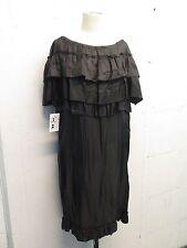 Nina Ricci Gunmetal Ruffle Tiered Shoulder Shift Dress Sz 40