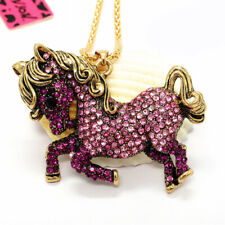 Horse Crystal Sweater Chain Necklace Hot Betsey Johnson Pink Rhinestone Cute