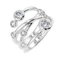 0.70Ct Round Diamond Bubble Ring, UK Hallmarked 18k White Gold