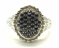 Sterling Silver 925 Round Black Onyx Dotted Halo Textured Band Cocktail Ring 7