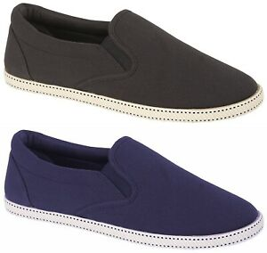 Mens Slip On Espadrilles Canvas Shoes Summer Pumps Casual Lightweight Plimsolls