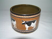 Estate Artist Signed Brown Glazed Pottery Crock w Black & White Milk Cows