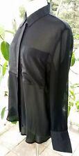 La Classe Couture Womens Blouse Top Medium Sheer Black Vented Back Long Sleeve