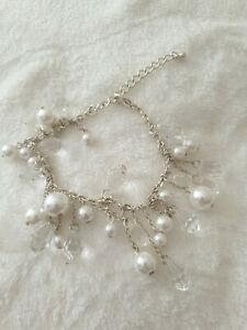 Stunning Silver Designers at Debenhams Faux Pearl & Clear Stone Beads Bracelet.