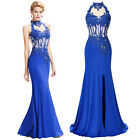 Women BLUE Long Evening Prom Bridesmaid Cocktail Party Mermaid Dress Formal Gown