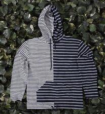 NWT $84 Mens 10 DEEP Strokes Hoodie Pullover Shirt Stripes Navy Blue White sz XL
