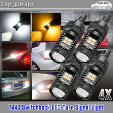 4x 7443 T20 LED Switchback 16SMD White/Amber DRL Turn Signal Lights High Power