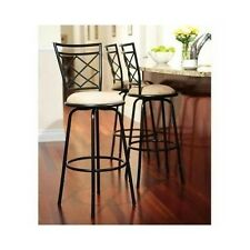 Bar Stools Swivel With Back Kitchen Counter Height Black Metal Adjustable Set 3