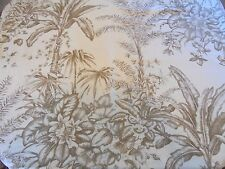 Waverly Fabric Shower Curtain Beige Botanical Floral 70 x 70 inches 100% Cotton