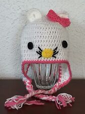CUTE HAND MADE HELLO KITTY HAT WITH EAR FLAPS 1-3 YRS.