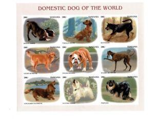 Tanzania 1999 Domestic Dogs - Sheet of 9 Stamps - MNH