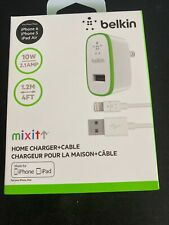 USED Belkin 1-Port Home Charger+Cable White Lightning 10Watt 1.2M 4FT MixIt