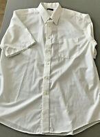 George Mens Short Sleeve WhiteDress Collard Shirt Button Up Size Large 42-44