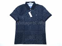 Original Penguin Men L Navy Blue Slim Fit Bandanna Paisley Print Polo Shirt Logo
