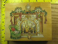 Rubber Stamp Victorian Fireplace Christmas Stamps Happen Stampinsisters #1494