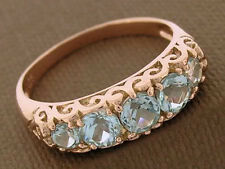R163 Genuine SOLID 9ct Rose GOLD NATURAL Topaz Eternity 5 stone Bridge Ring sz M