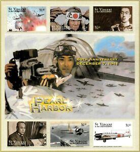 St. Vincent 2001 - SC# 2985 Pearl Harbor, Japan Attack - Sheet of 6 Stamps - MNH