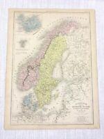 1877 Antik Map Of Norwegen Schweden Island Skandinavien Hand- Farbig Französisch