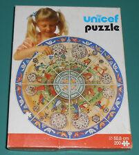 """Vintage 1970s UNICEF Children Animals Play 20"""" Round Jigsaw Puzzle Boys Girls"""