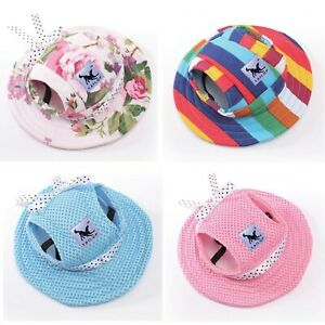 Dog Sun Hat Bonnet with Ribbon & Ear Holes Outdoor Accessories Christmas gift