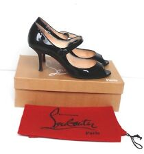 Christian Louboutin Iowa Black Patent Peep-toe Heels 38.5 uk 5.5