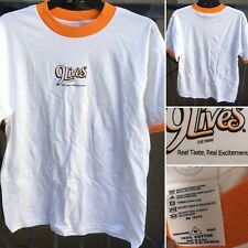 9 Lives Cat Food Real Taste Real Excitement Ringer Tee Advertising T-Shirt M