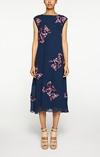 NICOLE MILLER ARTELIER Navy Floral Embroidered Midi Dress Size Small