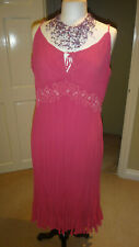 Marks & Spencer Bright Pink Crinkle -Any Occasion Midi Dress UK 16-18 NWOT