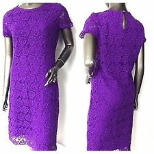 Ex Marks and Spencer Lace Purple Short Sleeves Dress Size 8
