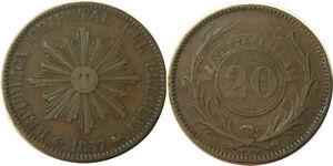 elf Uruguay 20 Centesimos 1857 D