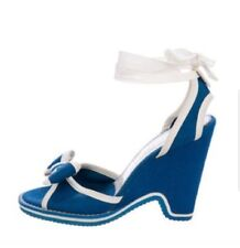 Marc Jacobs Blue & White Woven Canvas Wedge