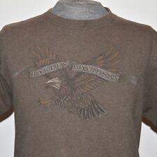 Harley Davidson Men L Brown T-Shirt Eagle Jim Motor Engine Ohio Banner USA