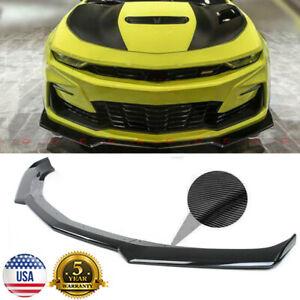 For 16-21 Camaro SS /19-21 LS LT RS Carbon Fiber Look Front Bumper Lip Spoiler