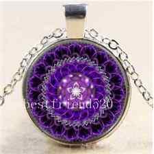 Deep Purple Mandala Cabochon Glass Tibet Silver Chain Pendant  Necklace