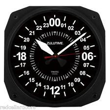 "New TRINTEC 24 Hour Clock 10"" BLACK Military ZULU Time  Instrument Clock 24-hr10"