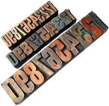 """Letterpress WOOD Type 3 x MIXED sets Numbers 31pcs 1"""" & 1 5/8"""" **FAB selection**"""