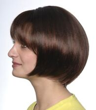 SARAH WIG BLACK BROWN WOMAN SHORT CHIN-LENGTH STRAIGHT BOB WIG W/ BANGS SKIN TOP