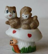 Squirrel Figurine Double Squirrel Mushroom Ceramic-Porcelain Hand Painted Enesco