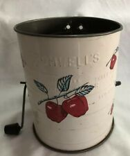 Vintage BROMWELL'S FLOUR SIFTER White w/ Hand Painted Red Apples 3 Cups Measure