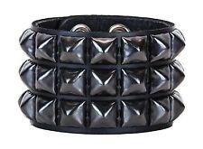 Black Pyramid Three Stud Leather Snap Bracelet Punk Gothic Glam Rockabilly 70's