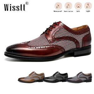 Men's Leather Oxford Dress Shoes Lined Durable Office Pointed Toe Penny Loafers