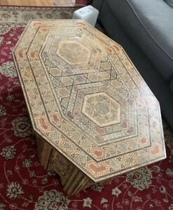 Egyptian Moroccan Style Coffee Side End Table Beech wood Inlaid Mother of Pearl