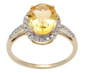 10k Yellow Gold 3ct Oval Citrine and Pave Diamond Halo Ring